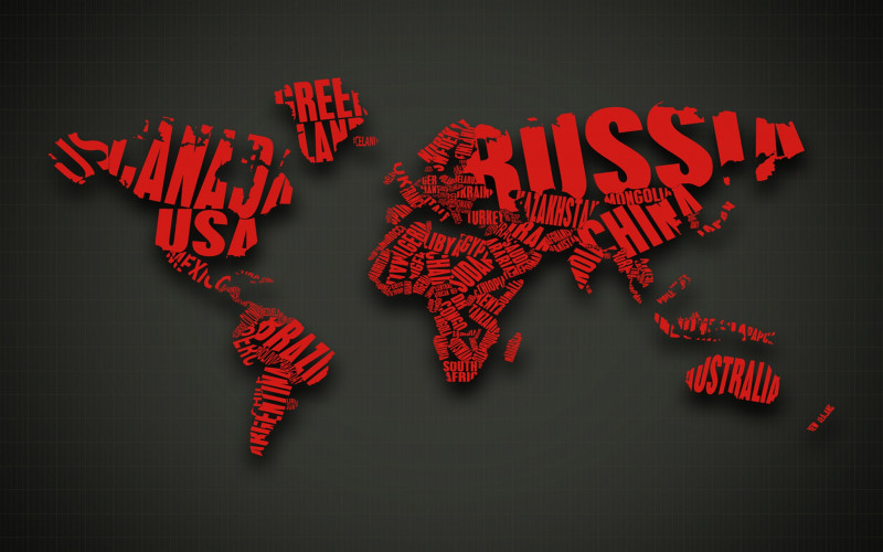 Abstract Red Text Cgi Typography World Map 3d